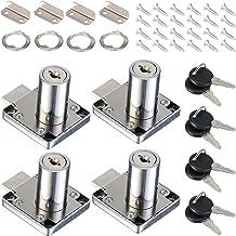 HSEAMALL 4 STKS Cam Sloten, 32 mm zinklegering kabinet Lock,Beveiligingscilinder kast lade slot met Alike sleutels voor hu...