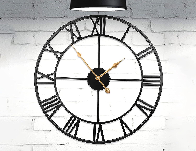 HOME GURUS Decorative Modern Large Wall Clock Non Ticking (Metal)