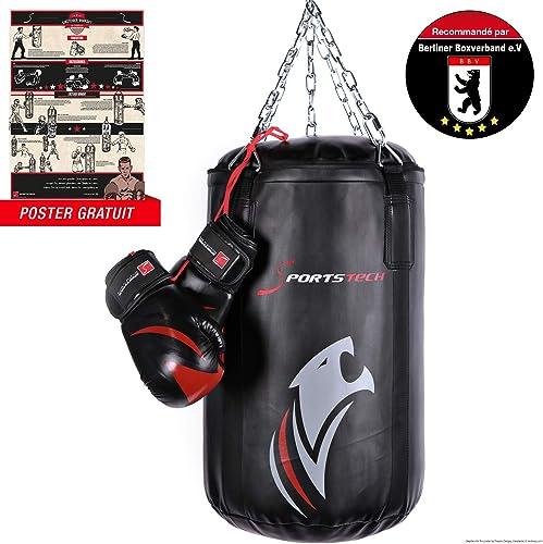 Sportstech Kit de boxe   Sac + gants de Boxe professionnels - Sac BXP Double renforcé (60x40cm) avec Fixation à 360, avec Poster d'entraîneHommest, recomhommedé par les profesionnels pour Enfants & Adultes