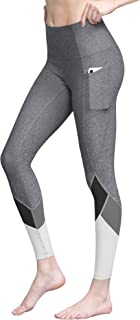 LL WB3007 Women's Tummy Compression Colorblock 7/8 Mesh Leggings with Pocket and Inner Pocket