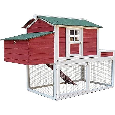 "PawHut 63"" Wooden Backyard Chicken Coop with Garden Box, Run Area, Nesting Box"