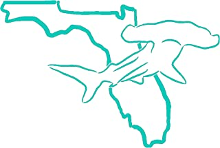 Dan's Decals Shark Florida Decal, Catching Sharks On The Beach (H 5 by L 7.5 Inches, Teal)