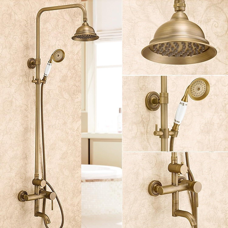 Li@ Kupfer antik europischen Stil Retro-Dusche Set Dusche Drachen Aufzug rotierenden warmen und kalten Wasser (Farbe   F)