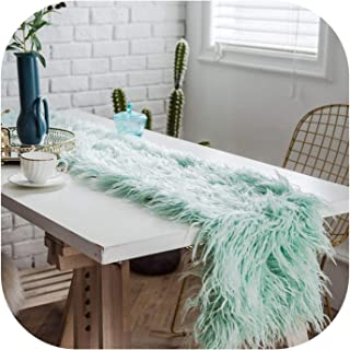 Wenzi-day European Table Runner Wool Table Towel Table Decoration Table Flag Tablecloth,30x180cm,Light Blue