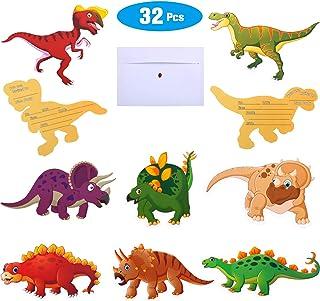 32 Invitaciones de Cumpleaños de Dinosaurio con Sobres Tarjetas de Invitación de Dinosaurios para Suministros de Fiesta de Tema Dinosaurio Baby Shower Cumpleaños Niños