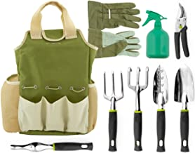 Vremi 9 Piece Garden Tools Set – Gardening Tools with Garden Gloves and Garden Tote..