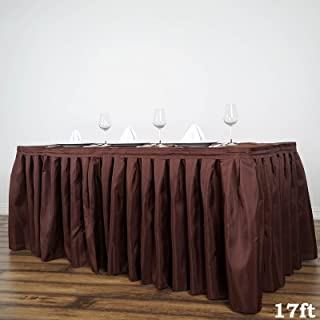 BalsaCircle 17 feet x 29-Inch Chocolate Brown Polyester Banquet Table Skirt Linens Wedding Party Events Decorations Kitchen Dining