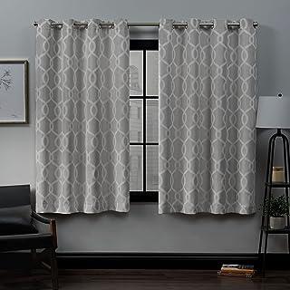 (dovegrey, 52x63) - Exclusive Home Trilogi Woven Blackout Grommet Top Curtain Panel Pair