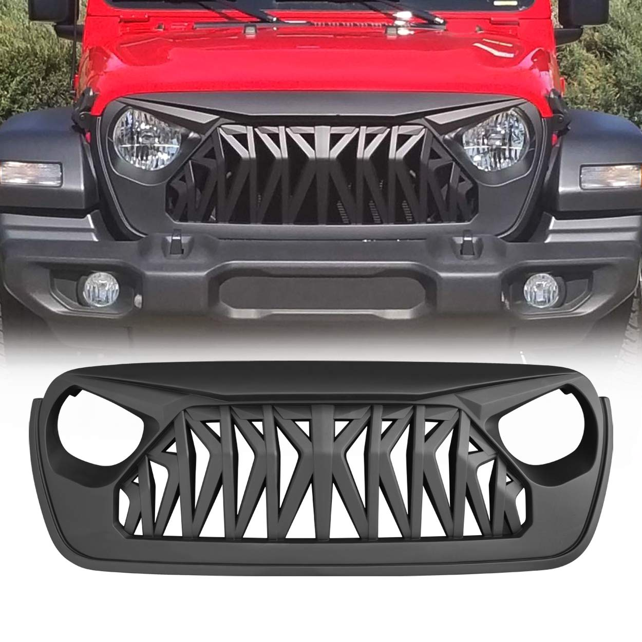 Newest Upgraded Style Modifying Front Shark Grille for 2018 2019 Jeep Wrangler JL JLU Rubicon Unlimited Sahara Sport Accessories Matte Black Grill