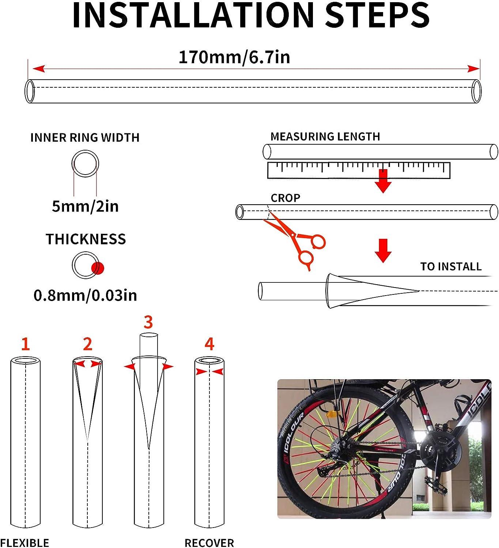 36pcs 6.7in Rim Decoration Wheel Spoke Wraps Straws for 12-14 Rims Razor Dirt Bikes BMX Kids Bike Motorcycle Yamaha Honda BMW Suzuki Kawasaki Universal Spoke Skins Covers Black