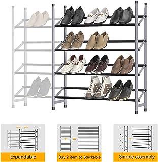 4-Tier Stackable Shoe Rack, Expandable & Adjustable Shoe Shelf Storage Organizer 24 Pairs Shoe Tower for Bedroom, Living R...