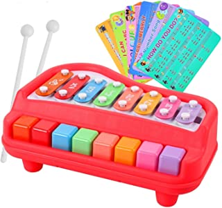 Henicx - Premium Quality Xylophone Piano with 8 Keys , it is Xylophone for Kids as Well as Musical Toys for Baby Boy / Girl Toys Music Keyboard with Playing Sticks (Red)