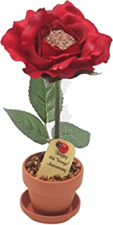 8th Year Wedding Anniversary Gift, Potted Bronze Desk Rose, Perfect Present for Wife or Husband