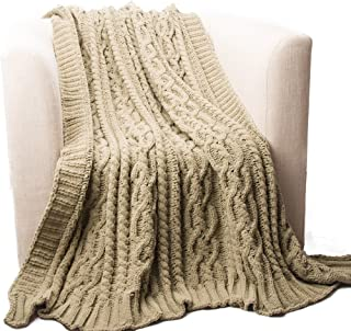 Battilo BTL15033-CAMEL Cable Knit Throw