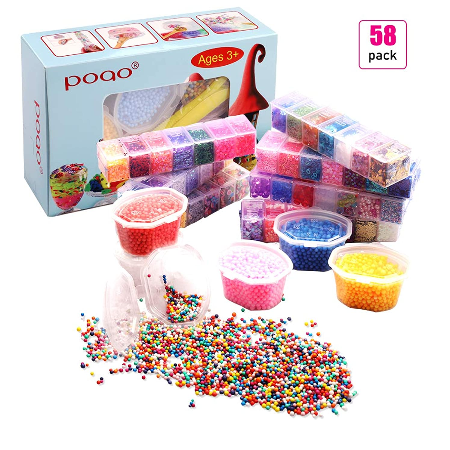Slime Supplies Kit, 58 Pack Slime Beads Include Foam Balls, Fishbowl Beads, Glitter, Fruit Slices, Rainbow Pearls, Sugar Paper, Slime Tools for Making Art DIY Craft - Make Your Party Decoration (58)