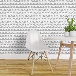 Spoonflower Peel and Stick Removable Wallpaper, Surfs Surfing Curl Ocean Sea Beach Holiday Vacation Tide Riptide Print, Self-Adhesive Wallpaper 24in x 144in Roll