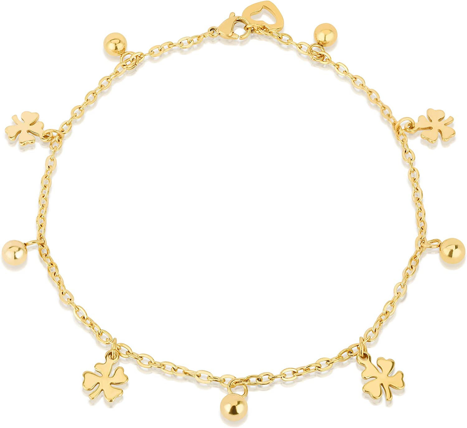 AMDXD Anklets for Women Indian Gold Plated Round Shape Anklet Chain Summer Jewelry for Women Rose Gold 21CM