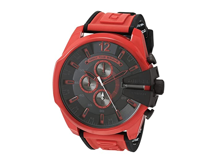Diesel  Mega Chief Chronograph Red Silicone Watch (Multi) Watches