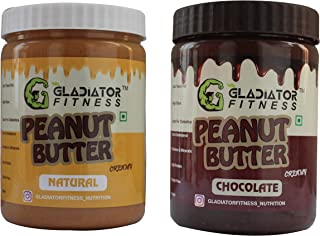 Gladiator Fitness™ Natural & Chocolate Creamy Combo Peanut Butter (500gm+500gm) | 30g High Protein | Zero Cholesterol | Ve...