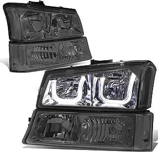 For Silverado/Avalanche 4PCS Smoked Lens Clear Corner Dual LED U-Halo Headlight + Bumper Light