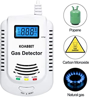 Gas Detector,KOABBIT Plug-in Carbon Monoxide & Explosive Gas Detector 2 in 1,Home Kitchen Methane,Propane,Compound Alarm;Charging or 9V Rechargeable Battery (Not Included) Voice Alarm With LED Display