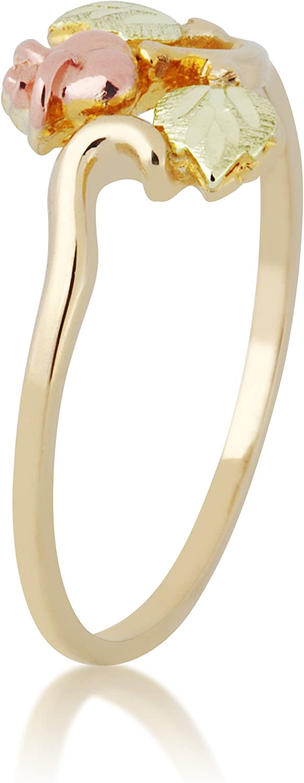 Rosebud Bypass Ring, 10k Yellow Gold, 12k Pink and Green Gold Black Hills Gold Motif
