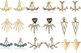 9 أزواج أقراط زهرة اللوتس نساء بنات أزياء الملحقات بسيطة شيك كريستال لؤلؤة مثلث شكل T أقراط