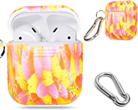 Protective Silicon Skin for Airpod Case by Alltravel, Featured with Flowers Image for Youth, Easy to Carry Carabiner, Compact, Lightweight and Excellent Protection(Upgraded Stronger Version)