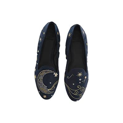 Tory Burch Olympia Embroidered Loafer (Perfect Navy) Women