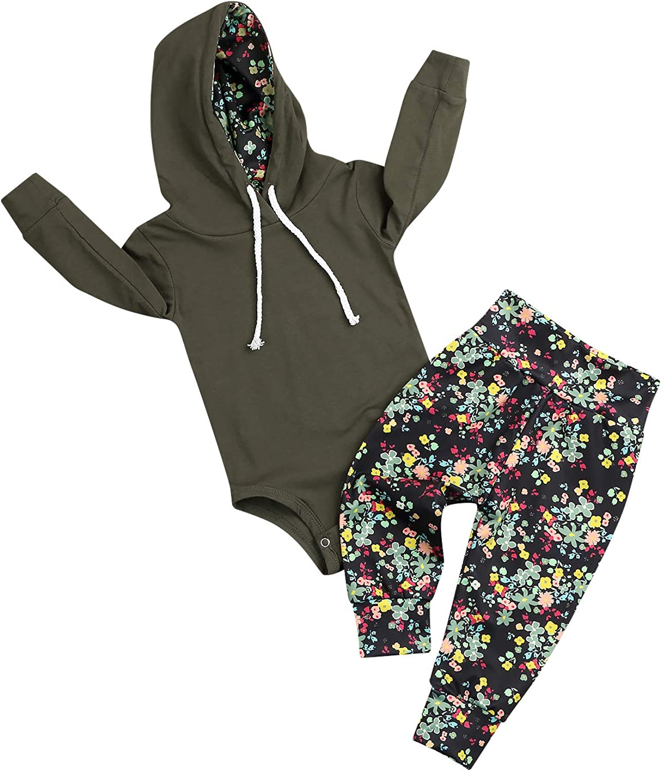Newborn Baby Girl Outfits Army Green Hoodie Romper Tops Floral Pants Toddler Infant Clothes Set