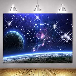 Galaxy Background MME 7X5Ft Stars Sky Background Dark Blue Halo Glitters Stars Purple The Earth Props Photo Booth Studio HXME204