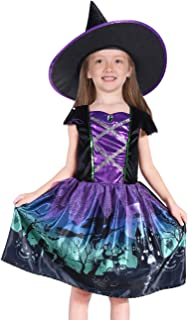Familus Kids Witch Costume Sorceress Dress with Hat for Girls Size 3T-8T