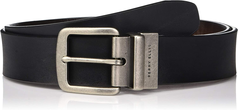 Perry Ellis Men's Portfolio Cut Edge Reversible Casual Belt 38mm