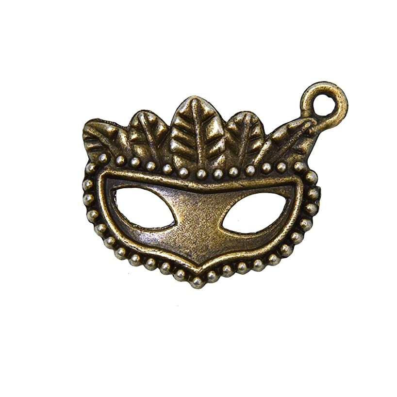 Monrocco 100Pcs Charms Party Mask Vintage Zinc Alloy Masquerade Mask Charm Pendant for DIY Necklace Bracelet