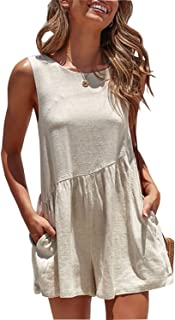 ba213d0b9233 Walant Womens Summer Casual Sleeveless Jumpsuits Tank Tops Short Rompers  with Pockets