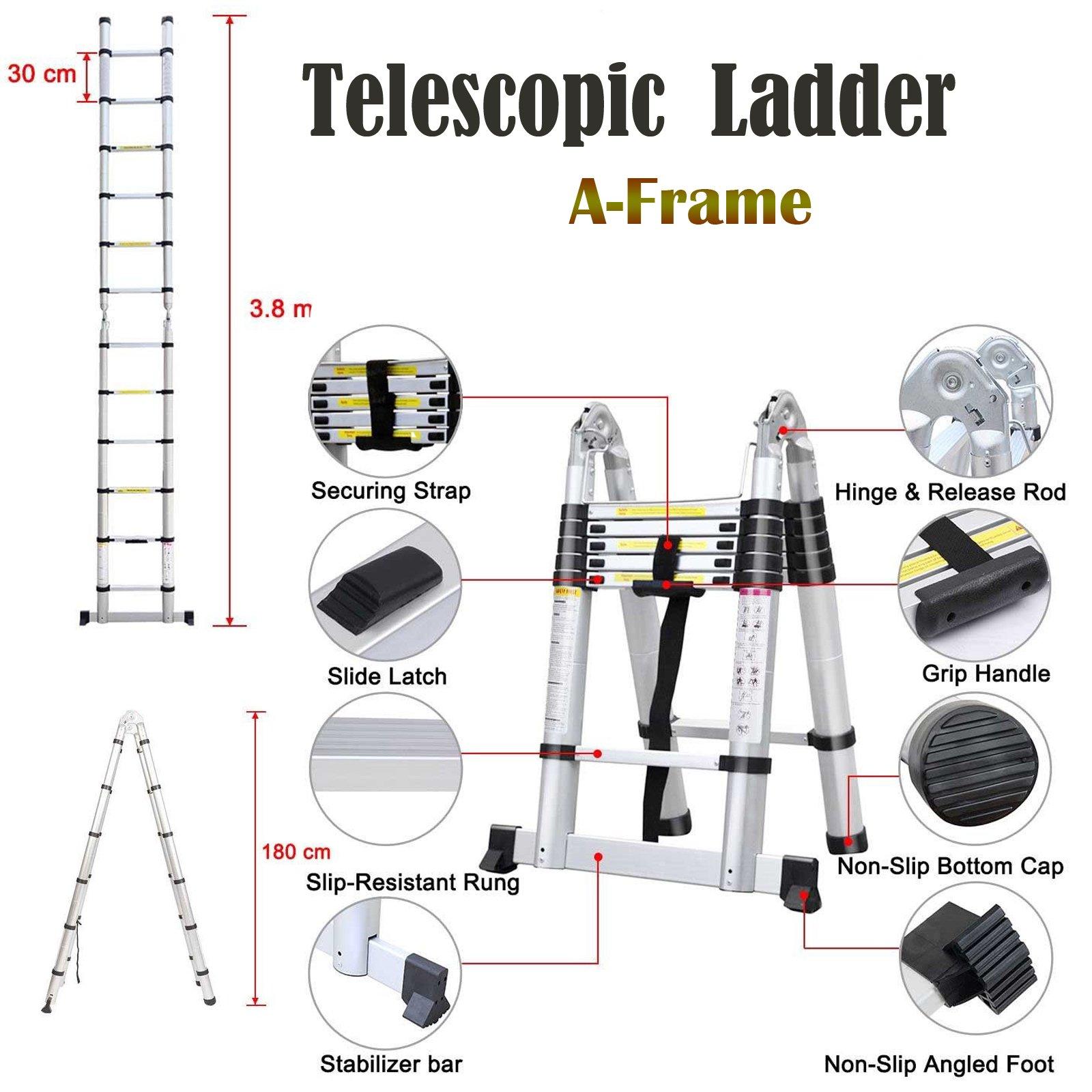 Escalera telescópica de 3,8m con marco en A, escalera de aluminio, goma antideslizante, capacidad de 150 kg: Amazon.es: Bricolaje y herramientas