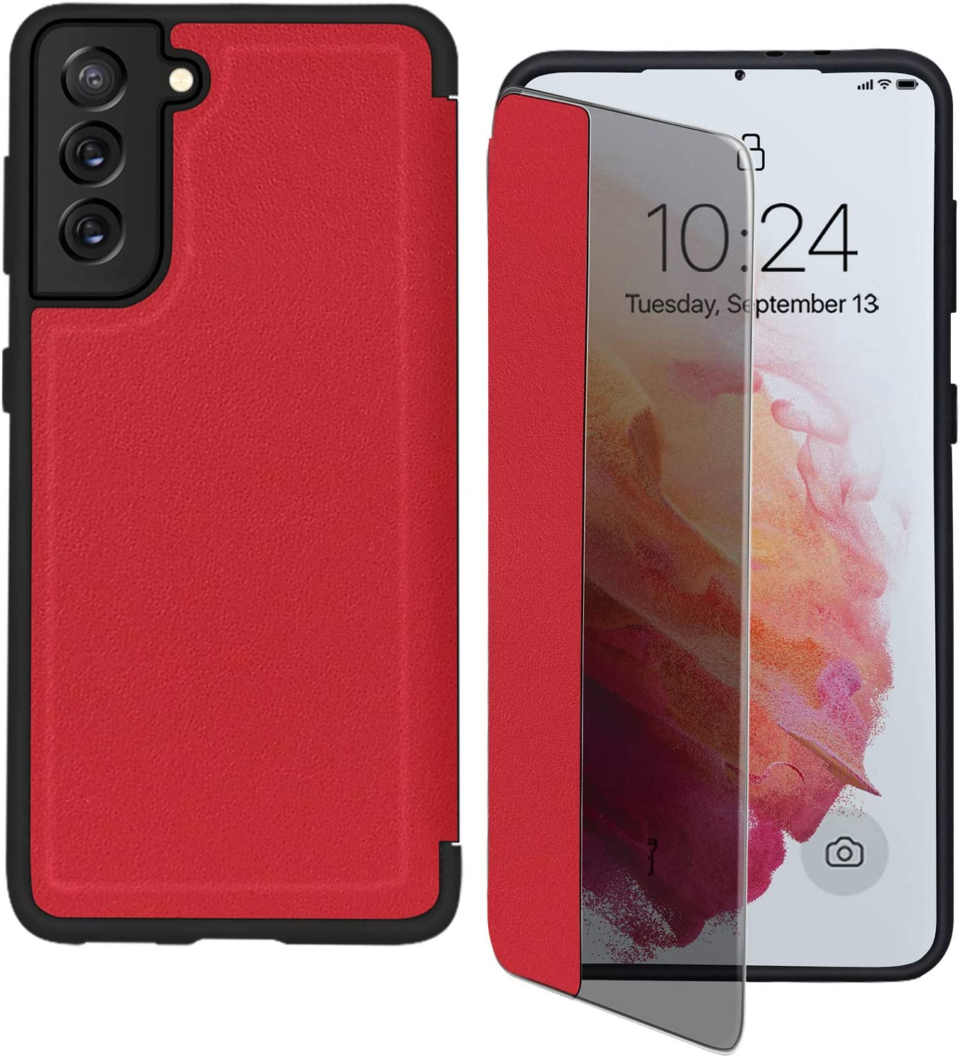 """FYY Phone Case for Samsung Galaxy S21 5G 6.2"""", Magnetic Slim Flip Case Drop Protection Shockproof Protective Cover with Window View Function for Samsung Galaxy S21 6.2 inch Red"""