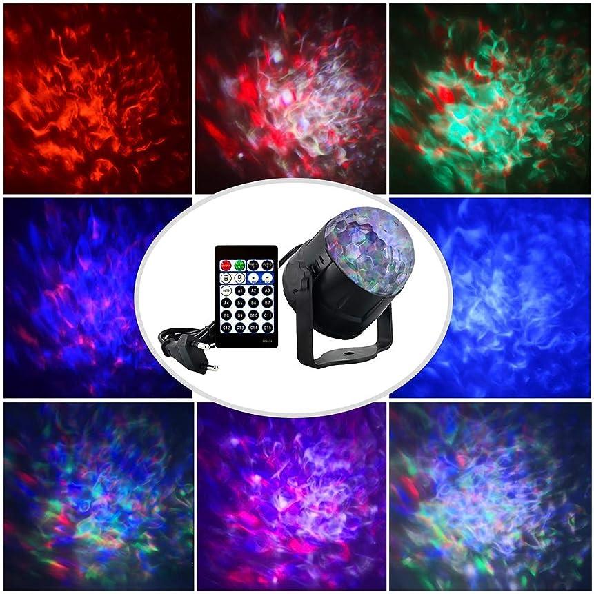 チャネルずるいタバコディスコライト、15色led音声制御ktv照明バーステージ投影ランプ、動的水パターンランプ炎光クリスタルマジックボールランプ
