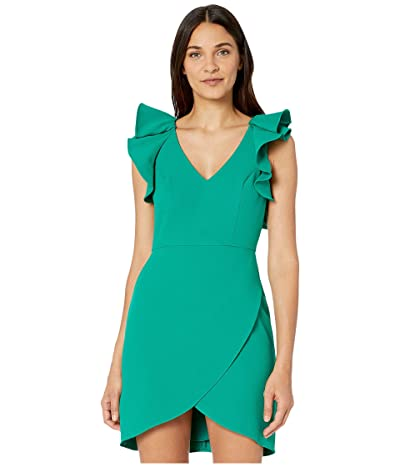 BCBGMAXAZRIA Ruffle Shoulder Cocktail Dress (Ultra Green) Women