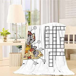 C COABALLA Word Search Puzzle Soft Print Blanket,Crossword Game for Children Cute Cat on Beach and Building Sand Castles Decorative for Living Room,49