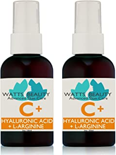 Watts Beauty Moisturizing Hyaluronic Acid Serum with Vitamin C - Advanced Antioxidant Skin Repair Gel - Made in USA - 4 oz