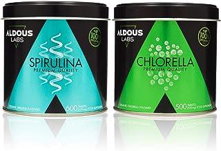 Pack Aldous Bio Espirulina Ecológica Premium + Chlorella Ecológica Premium | 1100 comprimidos de 500mg | Vegano - Saciante...