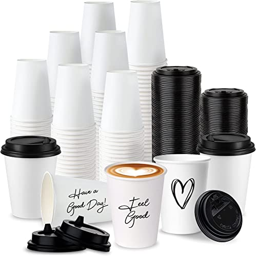 lowest Disposable 12 Oz. White Coffee Cup Set, 100 Paper Cups with Black Resealable Lids - Stylish Grab 'n Go Cup and Lid Set, Leak-Proof Travel new arrival Lid with online sale Resealing Flap, Personalizable Cups (100 Count) outlet sale