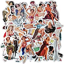 Sexy Lady Pin Up Girl Stickers, Laptop Skateboard Motorcycle Car Bike Luggage Trolley Case Decoration Waterproof Decals Sun-Proof 50 PCS No-Duplicate Stickers Pack