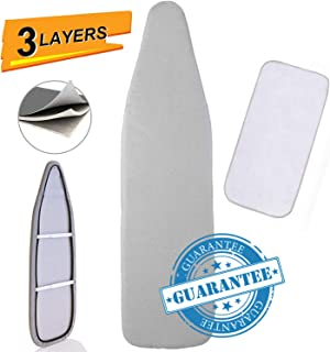 Petask Ironing Board Cover and Pad, Silicone Coated Resists Scorching and Staining Ironing Board Pads with Elastic Edges, 15