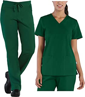 Tru Basic Womens Mock Wrap 2-Pocket Top 10103 & Half Elastic Drawstring Pant 90102 Scrub Set