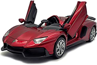 LMOY 1:32 Scale Die-cast Super Sports Car Lambo Aventador J Pull Back Cabriolet Metal Model Toy Car with Light & Sound Gift for Children (red)