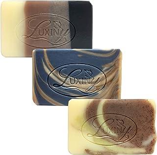 Natural Soap Bar, Luxiny Men's 3 Pack Cedarwood & Clove, Walk in the Woods, Tea Tree Citrus Handmade Body Soap and Bath So...