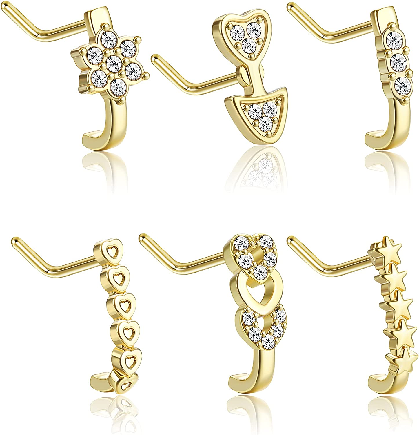UBGICIG 18G Nose Stud Nose Rings L Shaped for Women Stainless Steel Nose Studs Cubic Zirconia Star Flower Nose Piercing Jewelry Set
