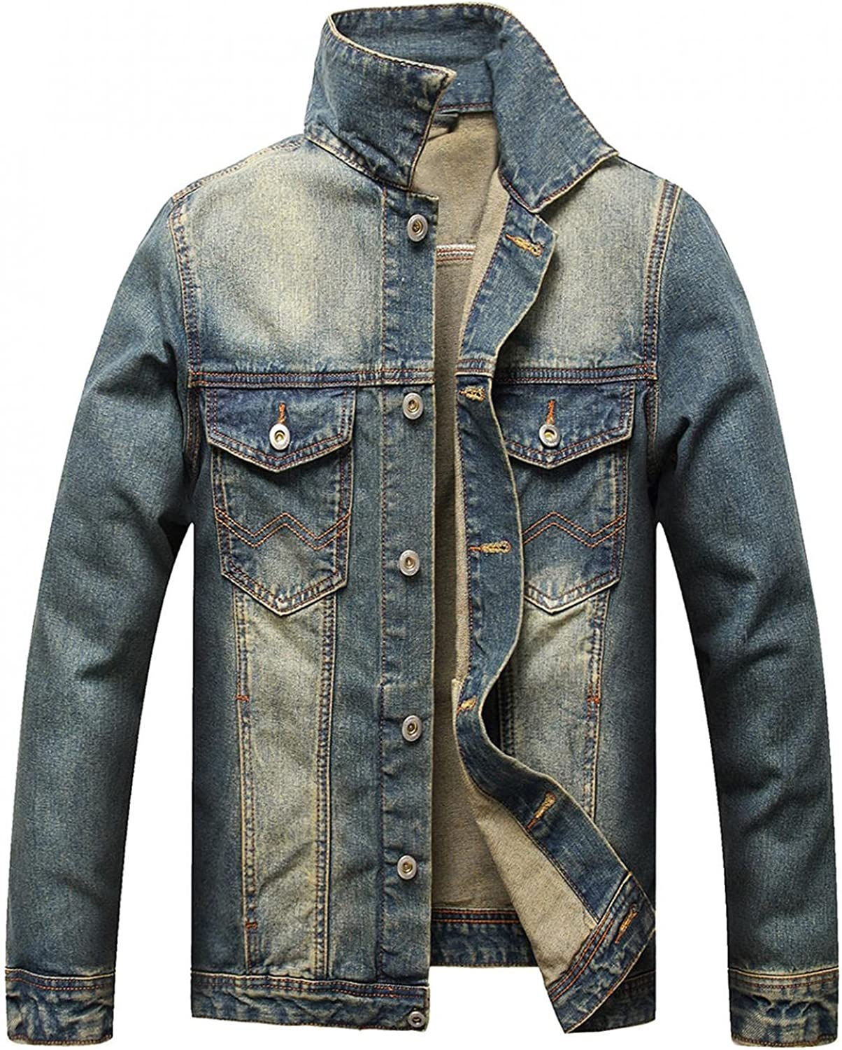 Beshion Jean Jacket for Men Ripped Slim Fit Denim Jacket Distressed Button Front Casual Trucker Coat with Pocket
